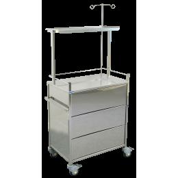 Chariot médical avec tiroirs 24 cm Promotal (1 plateau) - inox