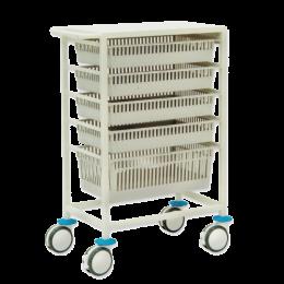 Chariot de stockage amagnétique avec supports et paniers optionnels