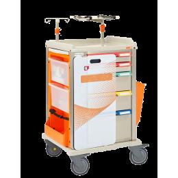 Chariot d'urgence amagnétique 4 tiroirs MRI SAFETY