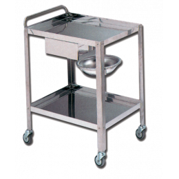 Chariot de soin avec tiroir et cuvette Gima (2 plateaux) - inox